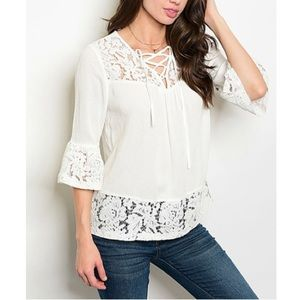 Tops - ‼️JUST IN‼️ off white lace up bell sleeve top